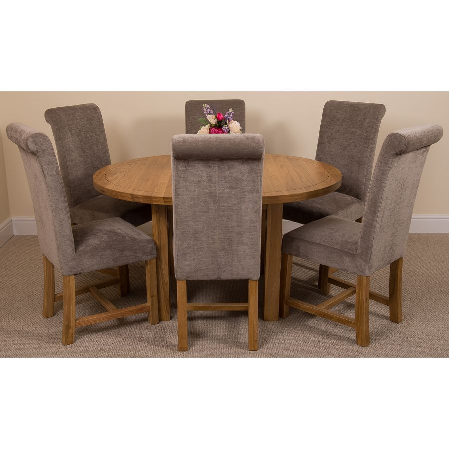 Pleasant Edmonton Round Oak Dining Set With 6 Washington Grey Fabric Chairs Andrewgaddart Wooden Chair Designs For Living Room Andrewgaddartcom