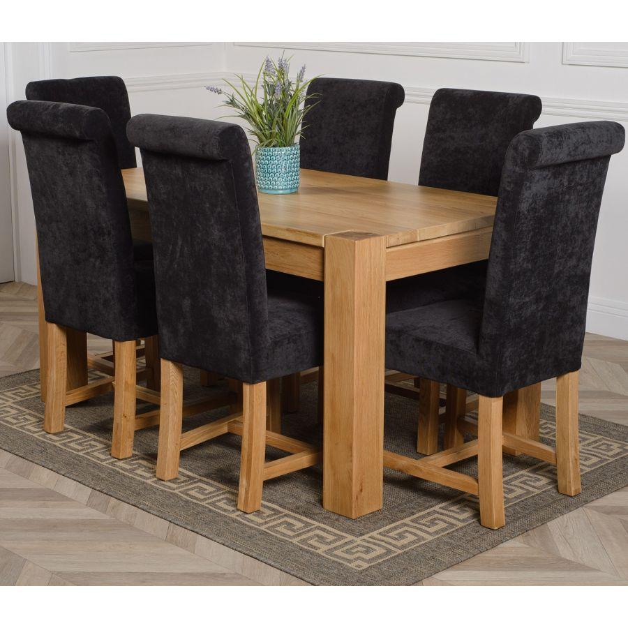 Kuba Medium Oak Dining Table With 6 Washington Black Fabric Chairs Oak Furniture King