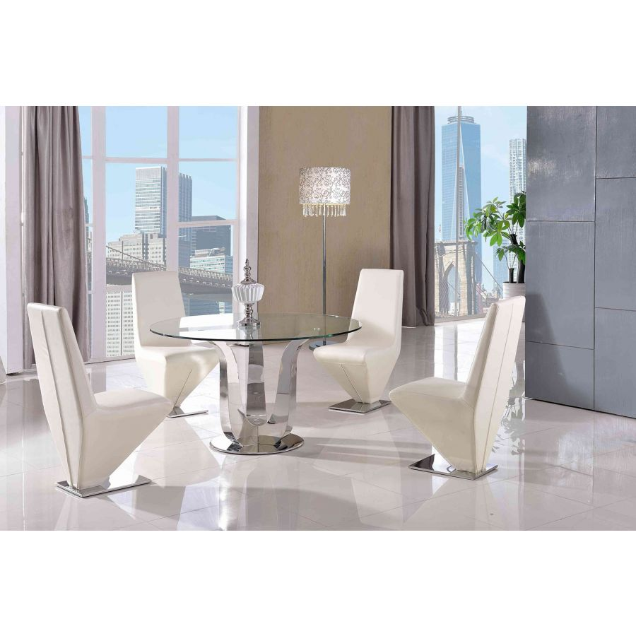 Naples Round Glass Dining Table 4 Rita Ivory Leather Chairs