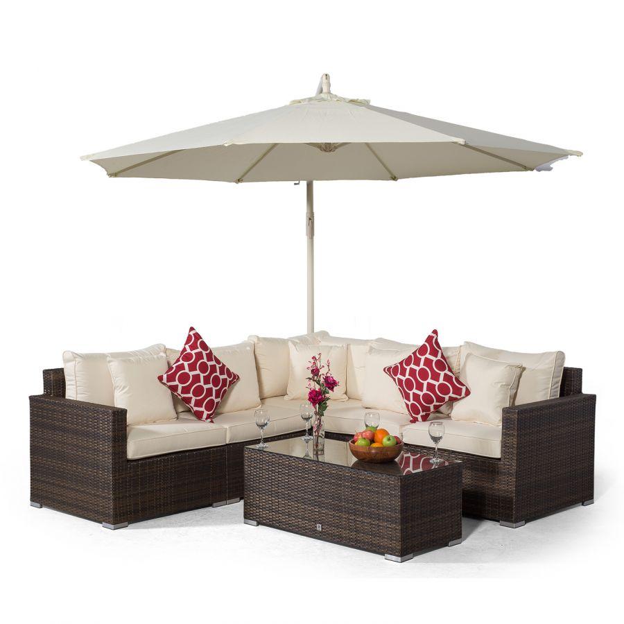 Havana L Shape Modular 5 Seat Rattan Corner Sofa Set With Large Coffee  Table - Brown