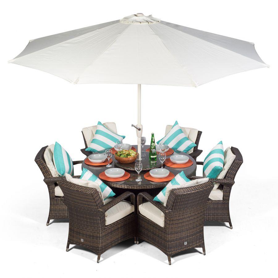 Arizona 6 Seat Rattan Garden Furniture Set Round Table