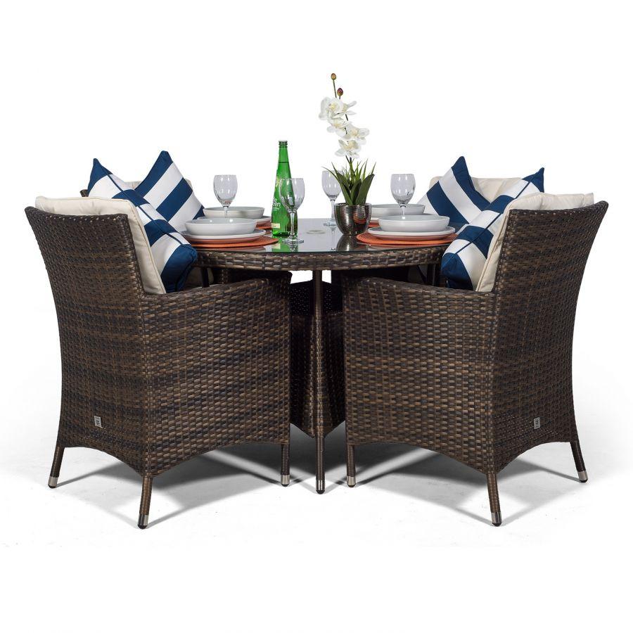 Savannah Rattan Garden Furniture 4 Seat Dining Set