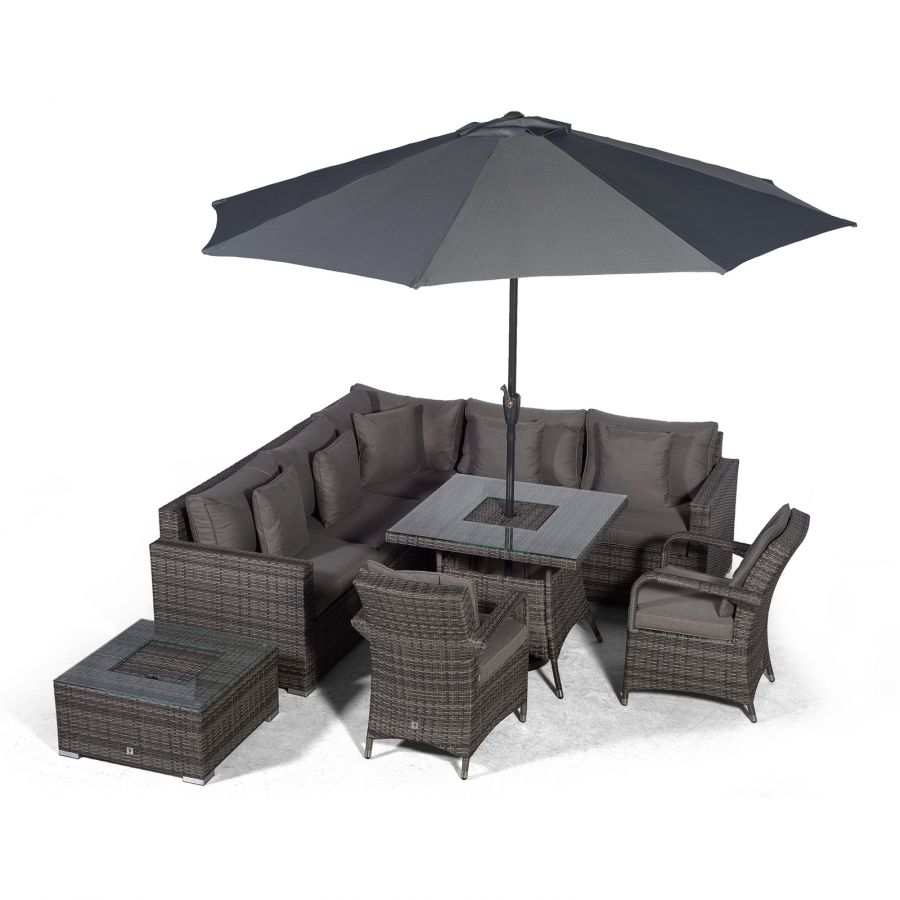 Havana Modular 7 Seat Drinks Cooler Rattan Corner Sofa Dining Set With Luxury Padded Dining Chairs Coffee Table Grey