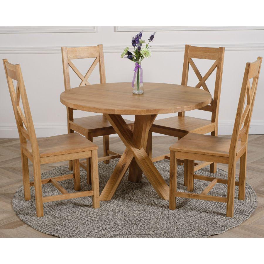 Oregon Round Oak Dining Table With 4 Berkeley Oak Chairs Oak Furniture King