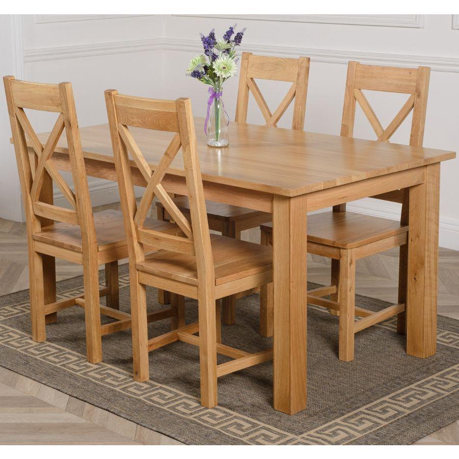 Oslo Medium Oak Dining Set With 4 Berkeley Oak Chairs Oak Furniture King