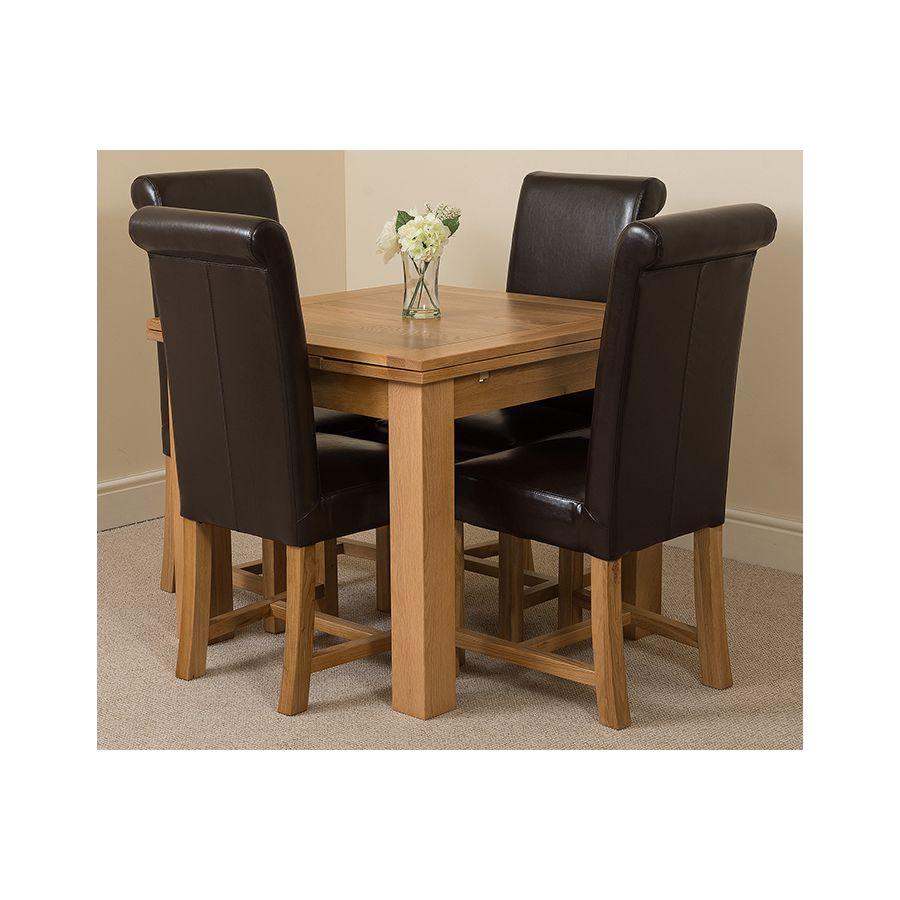 Richmond Oak Dining Set 90 150cm 4 Brown Chairs