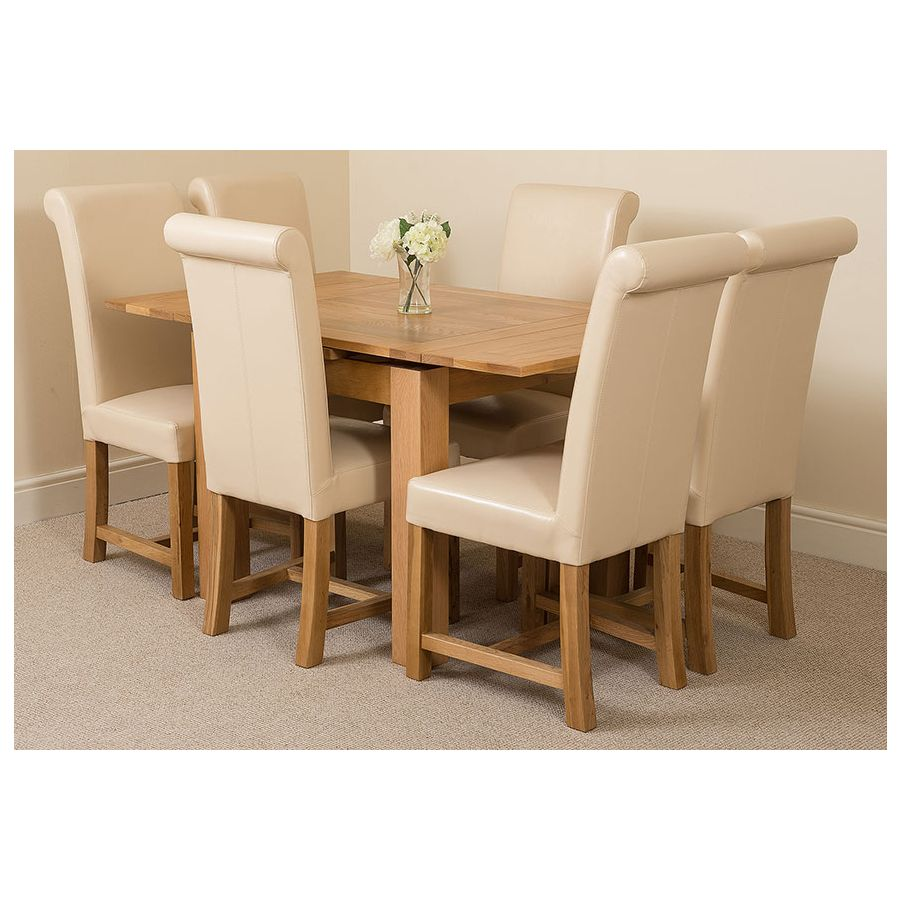 Richmond Oak Dining Set 90 150cm 6 Ivory Chairs
