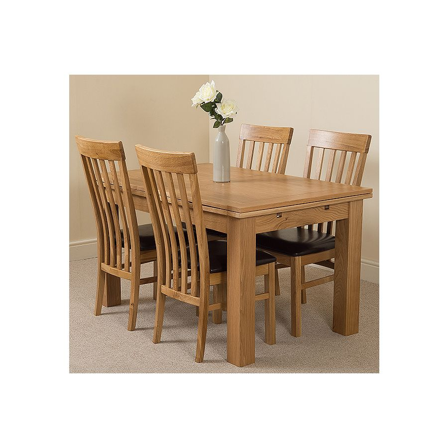 Richmond Oak Dining Set 140 220cm 4 Harvard Oak Chairs