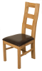Solid Oak Yale Dining chairs light oak and brown leather - left
